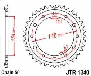 Stahl Kettenrad 44 Zähne 530 Teilung Honda CB 1000 R SC60 2008